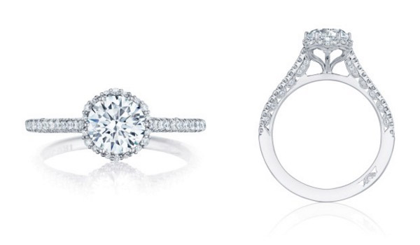 Round Petit Crescent Tacori Engagement Ring