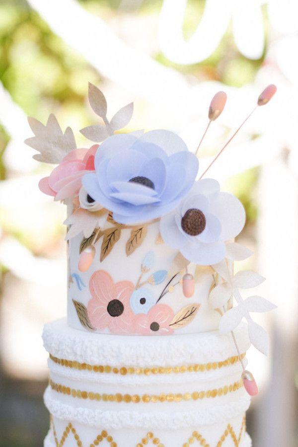 Rose Quartz and Serenity Floral Cake