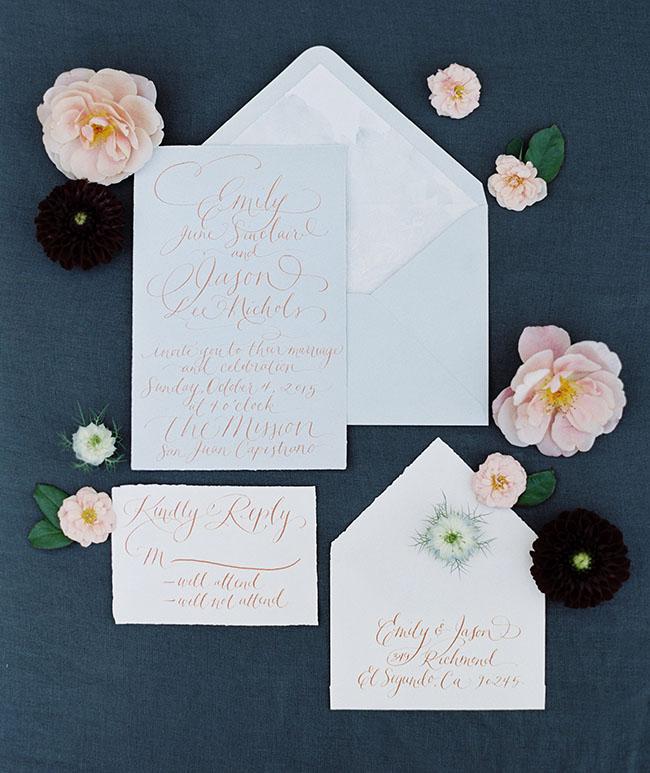 Simple Gold, Rose Quartz, and Serenity Wedding Invitations