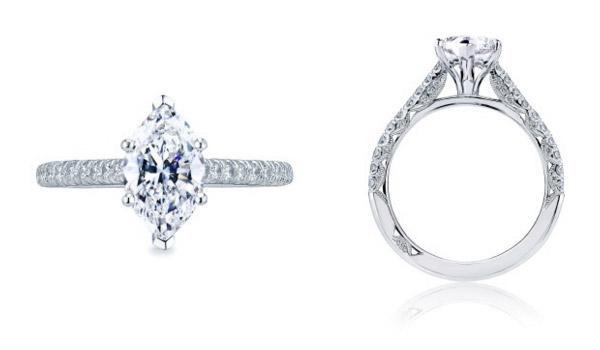 Marquise Shaped Petit Crescent Tacori Engagement Ring