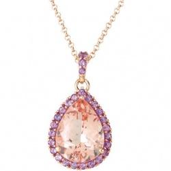 Rose Gold Teardrop Morganite Pendant (Style #68560)