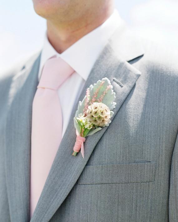 Rose Quartz Tie Boutonniere