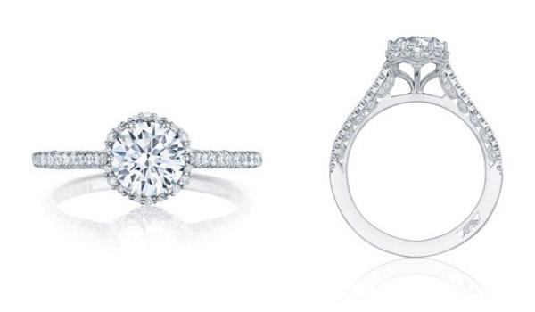 Round Petit Crescent Tacori Engagement Ring