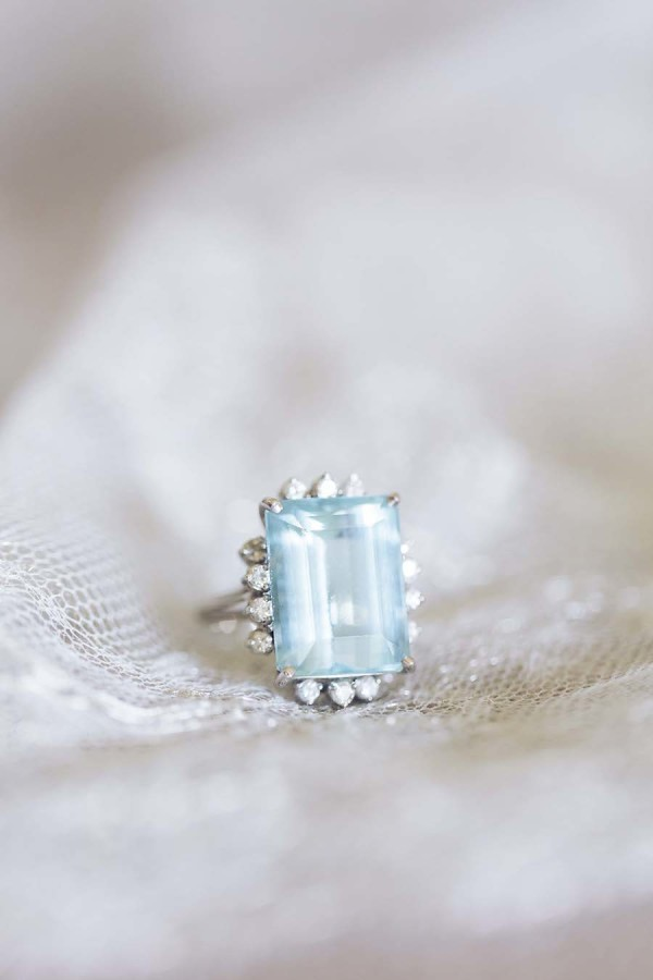 Serenity-Hued Emerald-Cut Engagement Ring