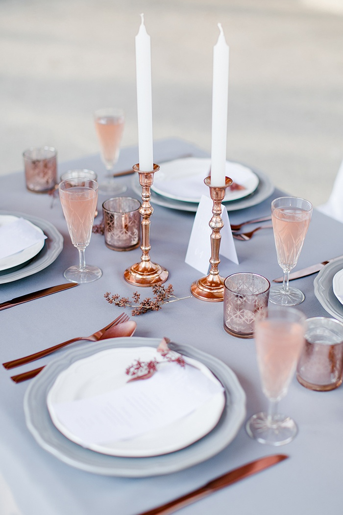 Rose Quartz/Gold and Serenity Table Setting